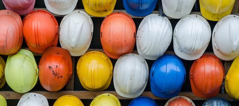 colorful construction hard hats
