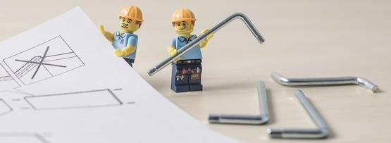 LEGO construction workers with tools